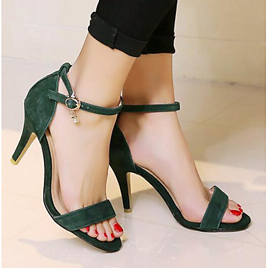 Women's Shoes Spring Suede Spring Shoes Comfort Sandals Stiletto Heel Black / Green / Khaki 82fa87