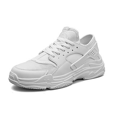 Muškarci PU / Elastična tkanina Jesen Udobne cipele Atletičarke tenisice Trčanje Obala / Crn / Crvena