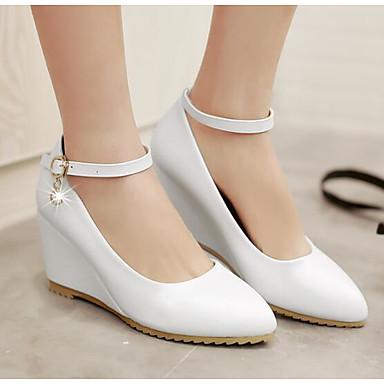 Polyuréthane Chaussures Confort à Hauteur de 06834897 Blanc Bleu Printemps Chaussures semelle Femme clair compensée Talons Rose dqt5wt