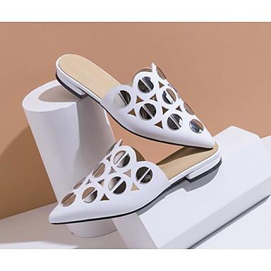 Printemps Noir Talon Cuir Chaussures Femme Nappa 06801053 Sabot Confort Mules amp; Blanc Plat 1yFcScRqW