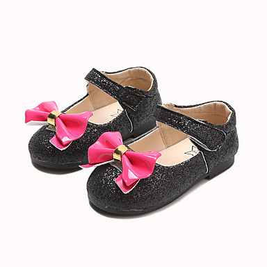 Djevojčice Cipele PU Proljeće ljeto Udobne cipele / Obuća za male djeveruše Ravne cipele Hodanje Mašnica / Mat selotejp za Dijete koje je tek prohodalo Crn / Pink