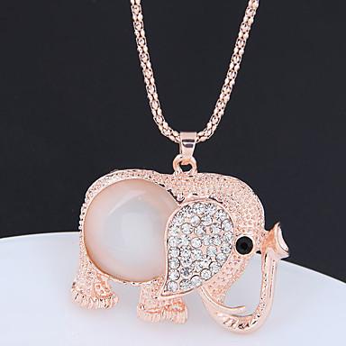 2cc27532e352 Mujer Clásico Collares con colgantes collar largo Brillante Elefante damas  Clásico Europeo Moda Dorado 70 cm Gargantillas Joyas 1pc Para Casual