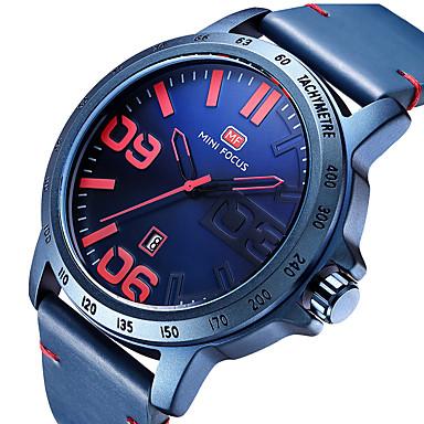 c6bc32dcca52 MINI FOCUS Hombre Reloj de Pulsera Cuarzo Cuero Auténtico Negro   Azul    Marrón Calendario Reloj Casual Analógico Lujo Minimalista - Marrón Verde  Azul