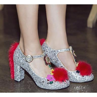 Žene Cipele PU Proljeće / Jesen Udobne cipele Cipele na petu Kockasta potpetica Pink / Dark Blue