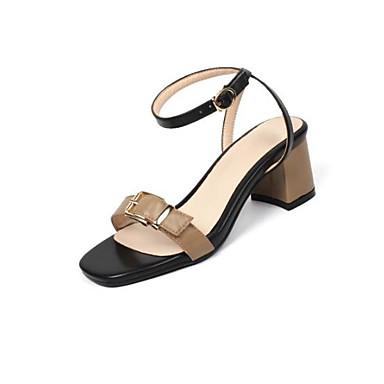 Žene Cipele PU Ljeto Udobne cipele Sandale Kockasta potpetica Otvoreno toe Kopča Obala / Bež / Kava