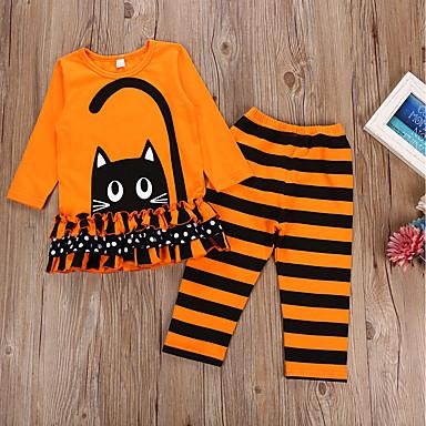 billige Halloweensalg-Barn Jente Aktiv Ferie Tegneserie Langermet Bomull Tøysett Oransje