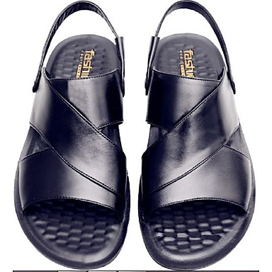 halpa Summer Sales-Miesten Comfort-kengät Nahka Kesä Vapaa-aika Sandaalit Musta / Ruskea