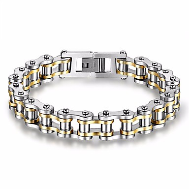 Men's AAA Cubic Zirconia Chain Bracelet - Cubic Zirconia, Titanium Steel, Gold Plated Star Punk, Rock, Gothic Bracelet Gold / Black For Gift Evening Party Street