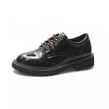 Women's Comfort Shoes PU(Polyurethane) Fall Oxfords Black Low Heel Round Toe Black Oxfords 430ebd