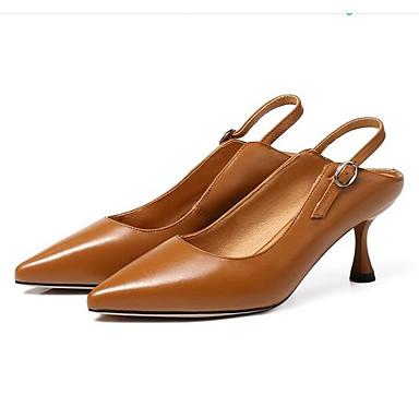 Chaussures 06841837 Noir Eté Nappa Confort Blanc Chaussures Cuir Aiguille à Marron Talons Talon Femme TqFwBXPOU