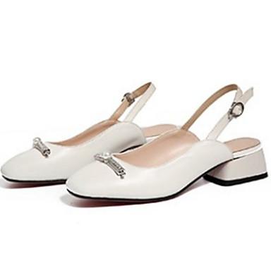 Block Noir de Talons Nappa à Chaussures confort été Printemps Cuir Chaussures Blanc Heel 06869624 Femme qUSvxCOw