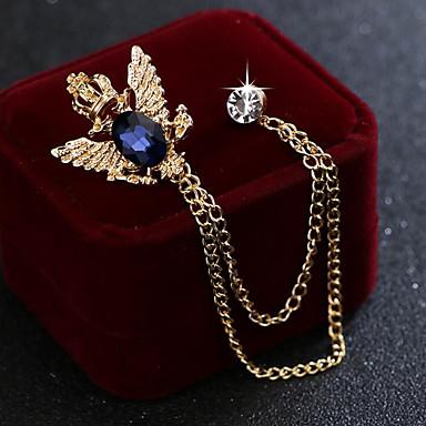 abordables Epingles & Broches-Homme Zircon Broche Tendance Lien / Chaîne Mode Elégant British Broche Bijoux Noir Bleu Pour Mariage Vacances