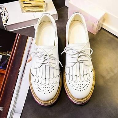 Femme Printemps Oxfords Bout Creepers Confort Noir Chaussures fermé Nappa 06849822 Cuir Blanc OrwfTx4qO