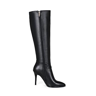 Femme Chaussures Cuir Nappa Automne hiver Bottes à la Mode Bottes Bottes Mode Talon Aiguille Bout pointu Bottes Noir 715e65