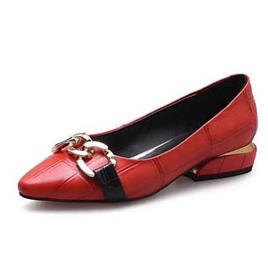des chaussures en cuir nappa - printemps fermé / été confort flats chunky talon fermé printemps orteil noir / rouge 04ffa1