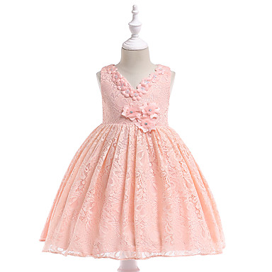 cheap Gilrs' Party Dresses-Kids Girls' Basic / Sweet Daily / School Solid Colored / Floral Lace / Mesh Sleeveless Knee-length Cotton / Polyester Dress White