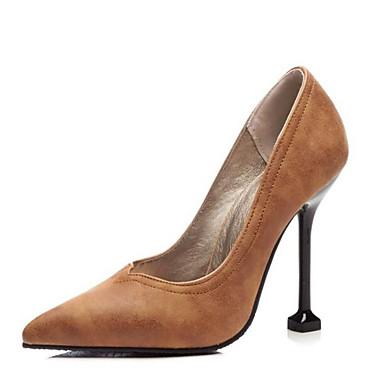 Mujer Tacón Stiletto Pump PU Básico Zapatos Primavera 06848562 Tacones Negro Rojo Marrón r0xHrgRqn