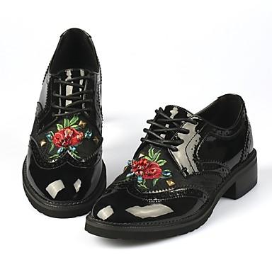 Chaussures Plat Oxfords Confort hiver Verni Noir Cuir Talon Femme Automne 06848568 dY8wfZxdq