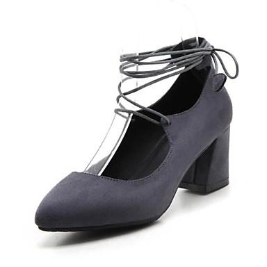 Básico 06863813 Negro Tacones Primavera Gris Zapatos Almendra Pump PU Tacón Mujer Cuadrado 8PTqIB