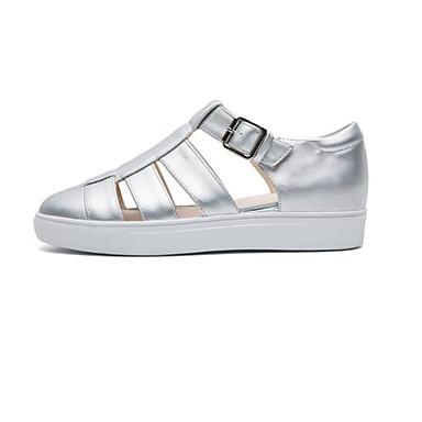Bas Chaussures Argent Polyuréthane Blanc 06864606 Eté Confort Talon Femme Basket YHPOw4Oq