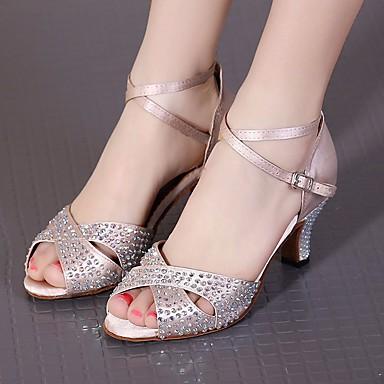 baratos Shall We® Sapatos de Dança-Mulheres Sapatos de Dança Seda Sapatos de Dança Latina Salto Salto Alto Magro Preto / Nú / Espetáculo / Ensaio / Prática