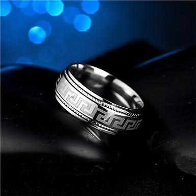 voordelige Herensieraden-Heren Ring 1pc Zilver Titanium Staal Cirkelvorm Eenvoudig Rock Modieus Bruiloft Maskerade Sieraden Stijlvol Totem Series Cool