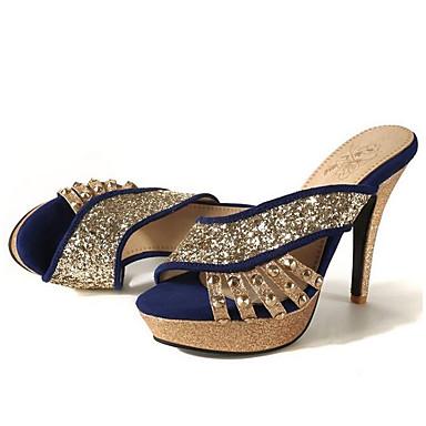 povoljno Ženske cipele-Žene Sandale Udobne cipele Stiletto potpetica PU Proljeće Crn / Crvena / Plava