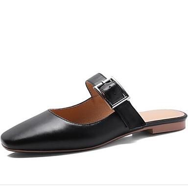 Blanc Plat Noir Eté Sabot 06843285 Mules Bout Cuir Confort Femme fermé amp; Chaussures Nappa Printemps Talon wpqW6gx
