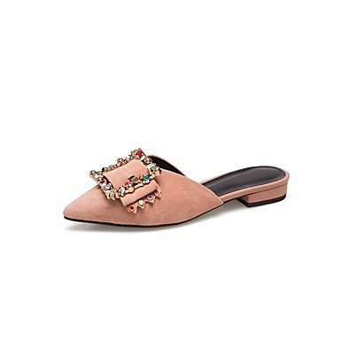 Printemps de mouton 06849133 Block Noir Sabot amp; Rose Chaussures Confort Mules Heel Peau Femme été xwnAx