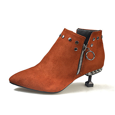 Zapatos Botas Ante Dedo Puntiagudo Kitten 06857284 hasta Oscuro Tobillo Morrón Tacón el Mujer Otoño Negro Botas Rdqyt