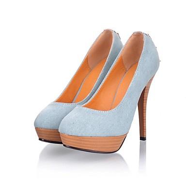 Toile Aiguille Femme Chaussures Bleu Talon Talons royal 06862597 Bleu été Confort de Chaussures à Printemps minuit HC5qC