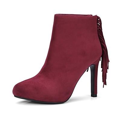Daim Bottes Brun Vin 06845238 Automne hiver Femme Amande Talon Aiguille claire Confort Chaussures pwq5a1