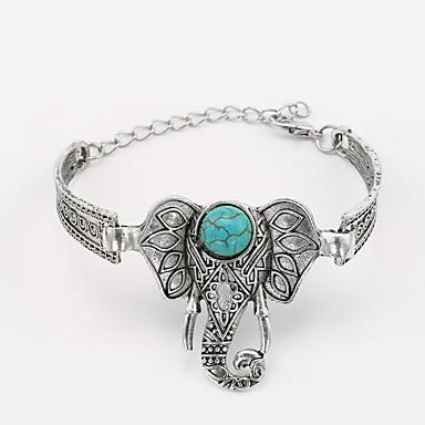 abordables Bracelet-Bracelet Jonc Femme Tendance Turquoise Eléphant dames Classique style occidental Bracelet Bijoux Argent pour Quotidien