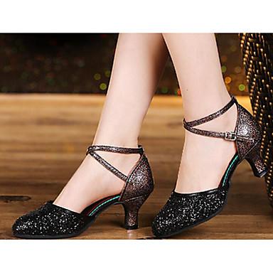 Women's Modern Shoes Pigskin Dance Heel Slim High Heel Dance Pigskin Shoes Gold / Black / Silver 28f496