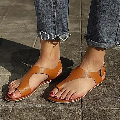 povoljno Ženske sandale-Žene Sandale Cipele s britanskim plavim plažama Ravna potpetica Otvoreno toe PU Udobne cipele Ljeto Svjetlosmeđ / Tamno smeđa