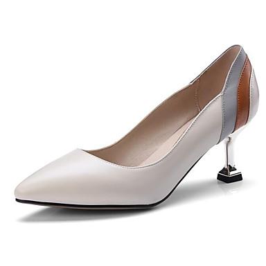 Cuir 06869688 Beige Femme Talons à Basique Noir Talon Escarpin Chaussures Printemps Nappa Bas axRdxFC