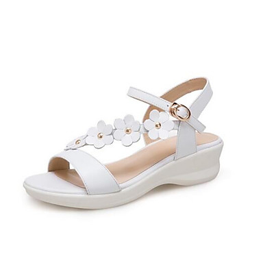 Napa de Mujer Zapatos 06863737 Sandalias Plano Primavera Rosa Cuero Confort Blanco Tacón AqtOZ