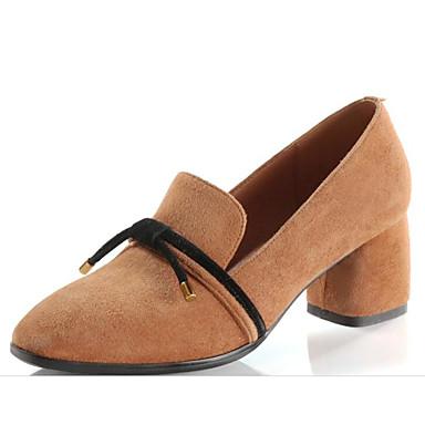 Women's  Shoes Sheepskin Spring &  Women's Fall Comfort / Basic Pump Heels Chunky Heel Black / Light Brown 5de5d3