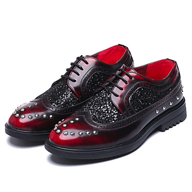Men's Dress Shoes Microfiber Spring / Fall Vintage Oxfords Non-slipping Red Gradient Black / Dark Red Non-slipping / Sparkling Glitter / Party & Evening 8feb64