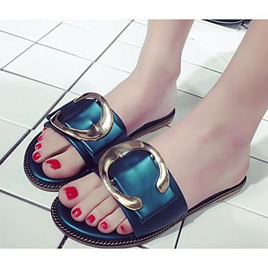 Zapatillas Plano Oscuro flops Verde y 06858802 PU Tacón Confort flip Mujer Negro Zapatos Verano 7wzI0qA