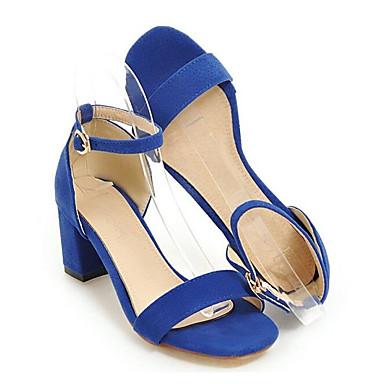 Zapatos 06841835 Confort Azul Cuadrado Mujer PU Sandalias Verano Tacón Negro zdxd6aqtw