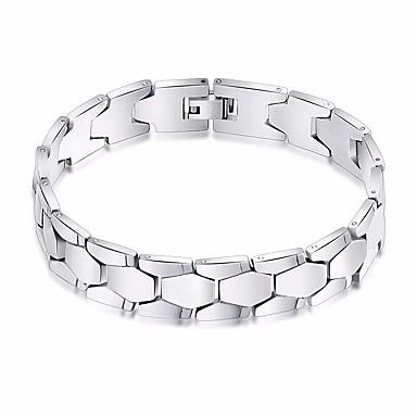 voordelige Herensieraden-Heren Armbanden met ketting en sluiting Wide Bangle Stijlvol Schakelketting Creatief Stijlvol Europees modieus Roestvrij staal Armband sieraden Zilver Voor Dagelijks Uitgaan