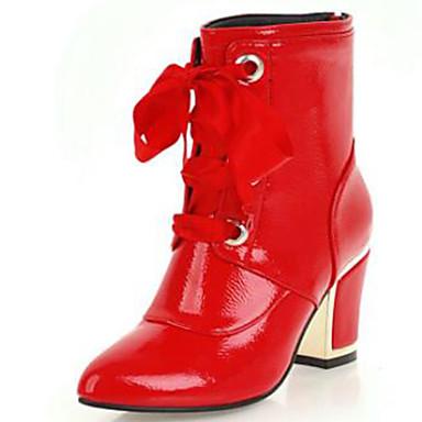 Dam Fashion Boots Lack Höst vinter Stövlar Bastant klack Rundtå Stövletter Vit / Svart / Röd / Fest / afton