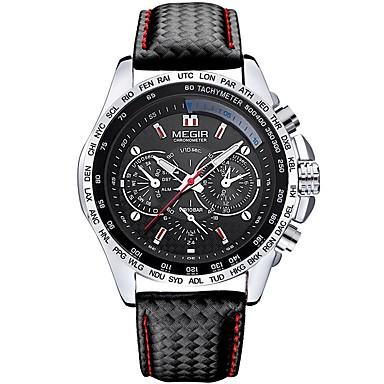 baratos Relógios Homem-MEGIR Homens Relógio Esportivo Japanês Quartzo Couro Preta 30 m Impermeável Noctilucente Relógio Casual Analógico Casual Fashion - Preto Prata