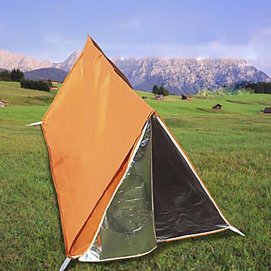 رخيصةأون مفارش و خيم و كانوبي-1 شخص خيمة طوارئ في الهواء الطلق خفة الوزن مقاوم للأشعة فوق البنفسجية التنفس إمكانية طبقات مزدوجة قطب الماسورة خيمة التخييم 1000-1500 mm إلى Camping / Hiking / Caving نايلون 200*100*100 cm