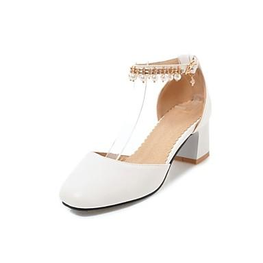 Cuadrado Zapatos Rosa Negro de cuadrada Primavera Azul Dedo Básico PU verano 06850379 Mujer Perla Imitación Tacón Pump Tacones 8q6adaw