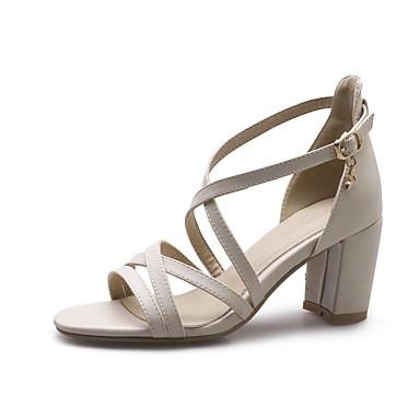 Confort Femme Chaussures Talon Sandales été Polyuréthane 06862588 Blanc Printemps Noir Bottier Amande UwIxwr4