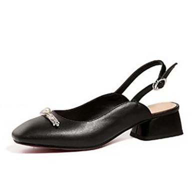 confort été Block Heel de Noir Femme Talons Nappa 06869624 Blanc Chaussures Cuir Printemps Chaussures à Yf4EqwT