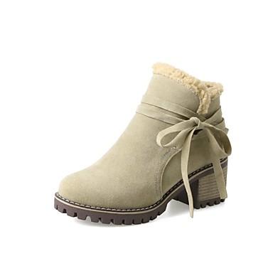 la Noir Chaussures Bottine Vert Beige rond Bottier Mode Talon Bottes 06846190 Bout hiver Automne Polyuréthane Demi Botte à Femme Bottes Yqpaq