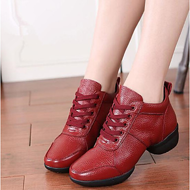 Femme Baskets de Danse Cuir Nappa Basket Talon épais épais épais Personnalisables Chaussures de danse Blanc / Noir / Rouge 33ed34